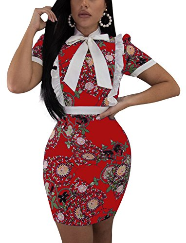 (Women's Floral Print Ruffle Bodycon Dress Short Sleeve Round Neck Front Bowknot Pencil Dress Small Red)