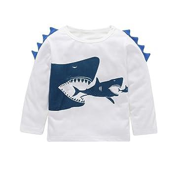 07abdfcb0e7f7 Mimoonkaka 子供服 キッズ 子供 ベビー ガールズ ボーイズ シャーク プリント ソフト トップス かわいい Tシャツ 服
