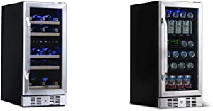 NewAir AWR-290DB Wine Cooler, 29 Bottle & ABR-960 Beverage Refrigerator Cooler Built In Compressor with 96 Can Capacity Mini Bar Beer Fridge w/Adjustable Shelves-Cools to Icy 37F Steel-ABR-960