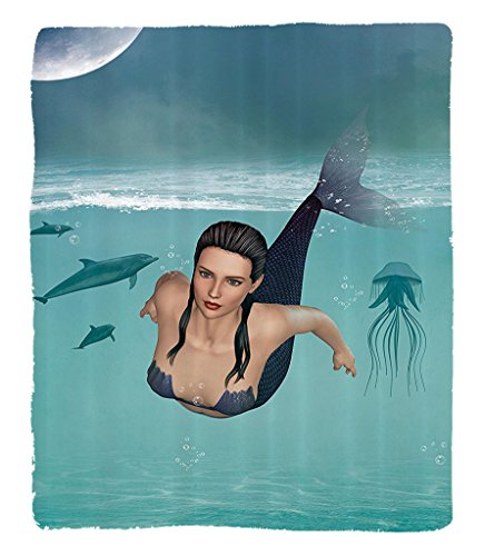 Chaoran 1 Fleece Blanket on Amazon Super Silky Soft All Season Super Plush Mermaid Decor Collection Fantasy Lscape with Mermaid in the Ocean Moon Undersea Plantswimming Picture Fabric et Teal Navy by chaoran