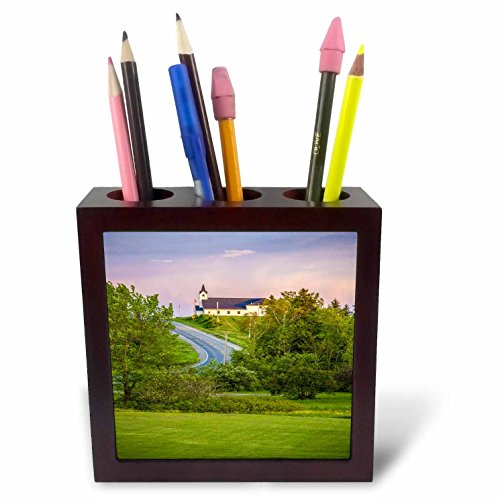 3dRose TDSwhite – Miscellaneous Photography - Prayer Bible Church On Hill - 5 inch Tile Pen Holder (ph_285326_1) by 3dRose