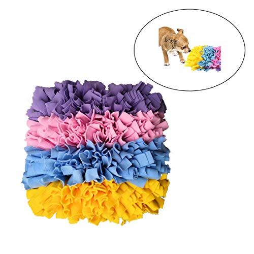 RZJ-LL Dawn Dog Feeding Mat Snuffle Pad Training Foraging Sniffing Colorful Washable Blanket Interactive Toys for Dogs Cats 5050cm (Feeding Mats Personalised Dog)