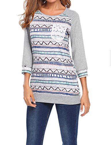 Tapestry Tee (Qearal Women Striped 3/4 Raglan Sleeve Baseball Shirts Tees With Lace Pocket(S, Gray))