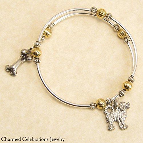 Portuguese Water Dog Breed Wrap Bracelet Handmade Charm Bracelet Jewelry Gift Keepsake. Gold, Silver or Black Bead Options