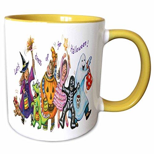 (3dRose Anne Marie Baugh - Halloween - Cute Illustration Of Halloween Trick Or Treaters - 15oz Two-Tone Yellow Mug)