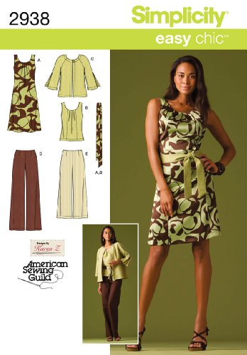 (MISSES/WOMENS DRESS OR TOP, PANTS IN 2 LENGTHS, JACKET AND TIE BELT SIZES 10-12-14-16-18 SIMPLICITY EASY CHIC AMERICAN SEWING GUILD PATTERN 2938 DESIGNED BY KAREN Z)
