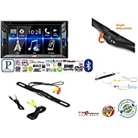 JVC KW-V130BT Double DIN Bluetooth In-Dash DVD/CD/AM/FM Car Stereo w/ 6.2 Clear Resistive Touchscreen + CAM-880 License Plate Bolt-On Rear View Camera w/ Built-In I.R.