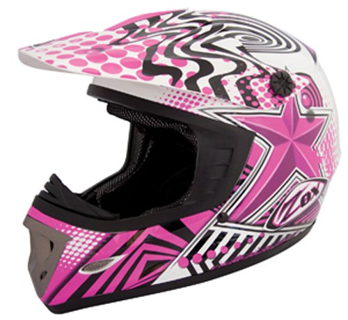 ZOX Rush Junior Off-Road Helmet with Star Graphic (Pink/Black, Large)