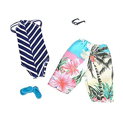 E-TING 2 Sets Doll Accessories Bikini Swimsuit Bathing Suit Swimming Shorts Boy Dolls Pack by Girl Boy Dolls (Pink Coconut Tree and Stripe) : Baby