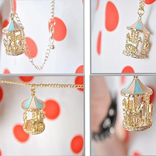 Liankee Cute Long Pendant Enamel Carousel Roundabout Horse Necklace Sweater Chain Rhinestone - Carousel Necklace