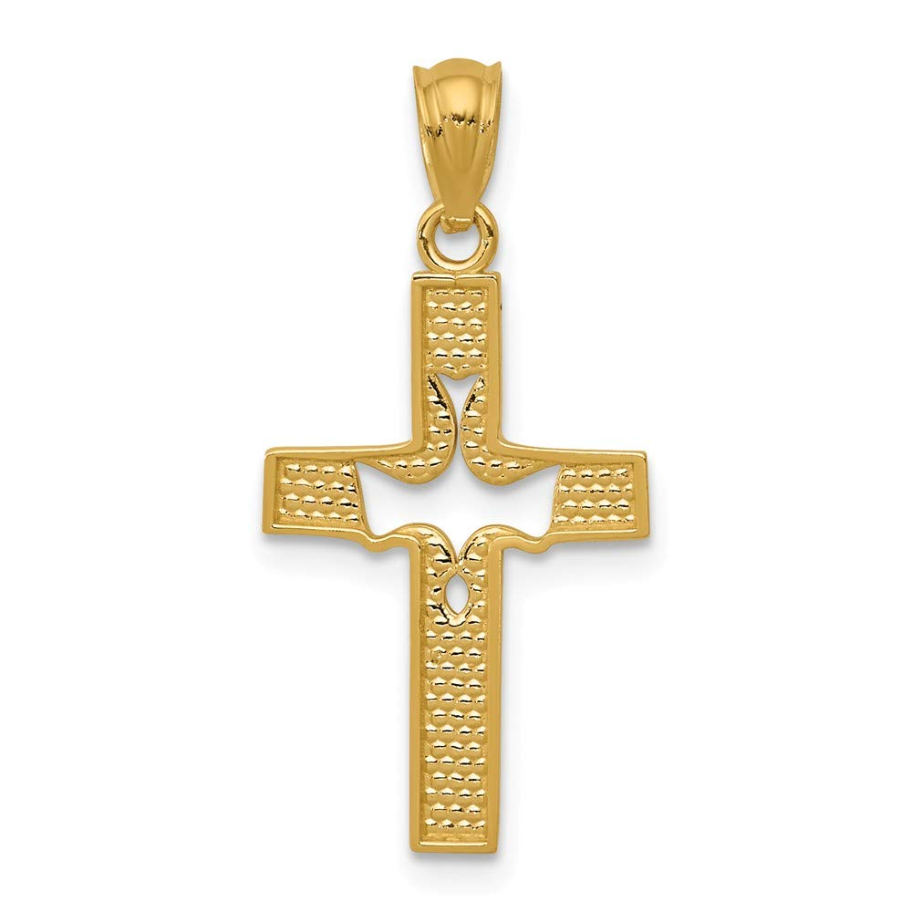 14k Yellow Gold Dove Cross Pendant