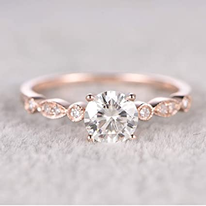 a23f611486cc4f Image Unavailable. Image not available for. Color: maledery 6.5mm Round  Morganite Engagement Ring ...