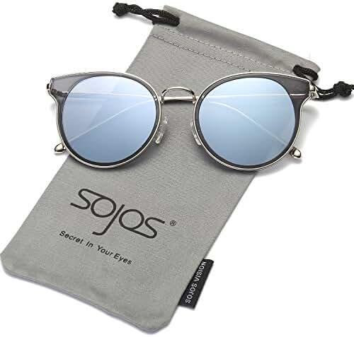 SojoS Premium Metal Flat Reflective Mirror Lens Round Sunglasses UV400 SJ1050