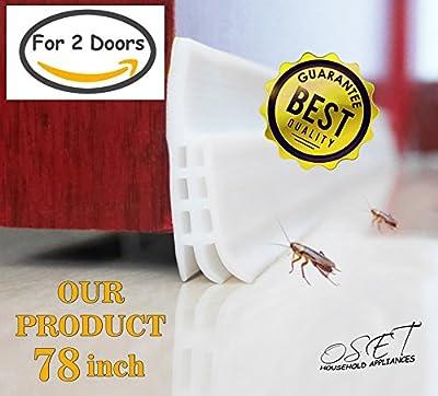 """Strong Door Bottom Seal Weather Stripping - 2"""" X 78"""" Lengt Seal Strip, Under Door Silicone Sweep, Door Draft Stopper, Weatherproof Weather Strip Energy & Money Saving Bugs Stopper"""