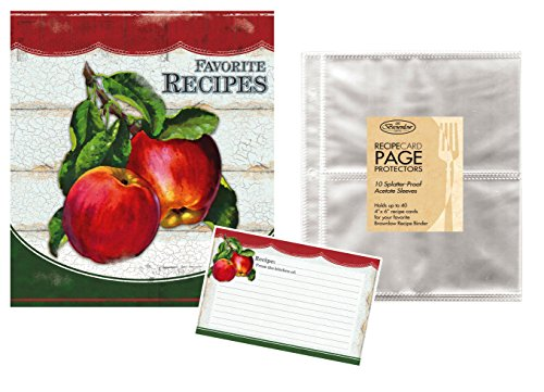 Bonus Sleeve (Family Recipe Binder Kit with Brownlow Vintage Apples Binder, Recipe Cards Plus 10 Bonus Protective Refill Sleeves)