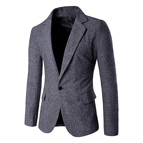 Men's Blazer Jacket Herringbone Sport Coat Smart Formal Dinner Cotton Suits Slim Fit One Button Notch Lapel Coat Gray