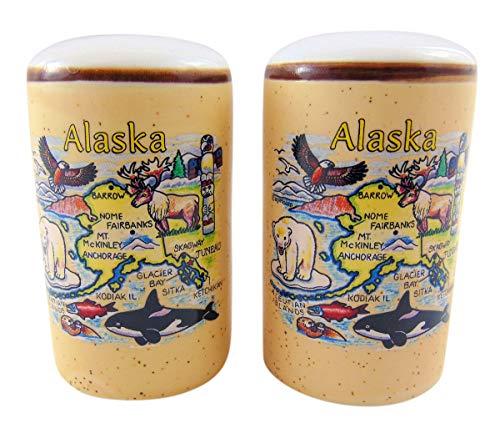 Souvenir Salt Pepper - Alaska Salt and Pepper Shaker Set Alaskan Souvenir Ceramic Map Gift