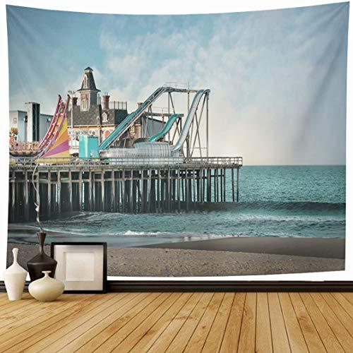 Ahawoso Tapestry Wall Hanging 60x50 Sand Boardwalk Seaside Heights Nj Amusement Parks Seashore Jersey Vintage Shore Beach Sandy Summer Home Decor Tapestries Decorative Bedroom Living Room Dorm