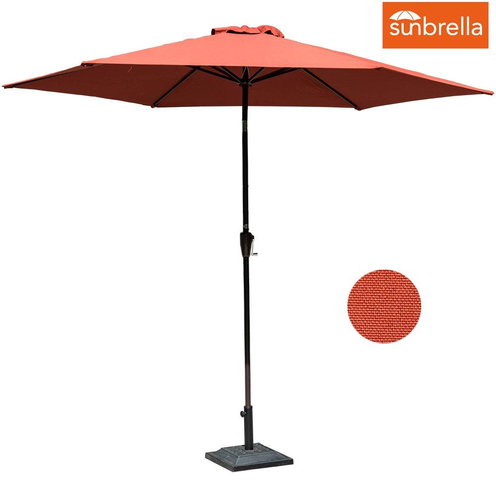 Sundale Outdoor 11 Ft Sunbrella Canopy Patio Market Umbrella Garden Outdoor Aluminum Umbrella with Crank and Push Button Tilt,Red