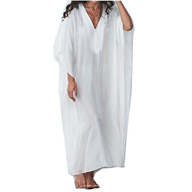 77c065812e3 Women Swimsuit Cover Up Dress Long Bathing V-Neck Solid Color Loose Beach  Maxi Dress