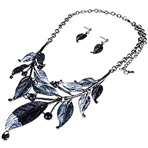 Moxeay Womens Vintage Crystal Rhinestone Leaves Bib Statement Collar Chain Necklace Earring Sets (Black)