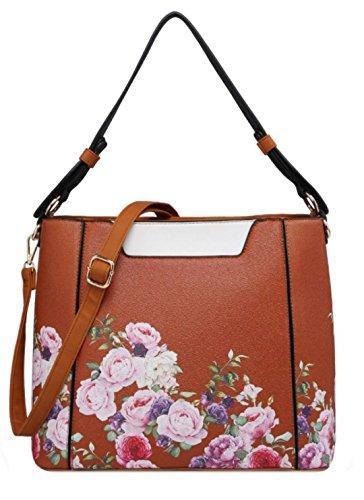 Brown Top Bag Roses HandBags Handle Girly wHq4PBx
