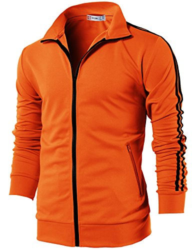 H2H Mens Workout Slim Fit Lightweight Line Training Full Zip-up Jacket Orange US L/Asia XL (CMOJA0103) by H2H