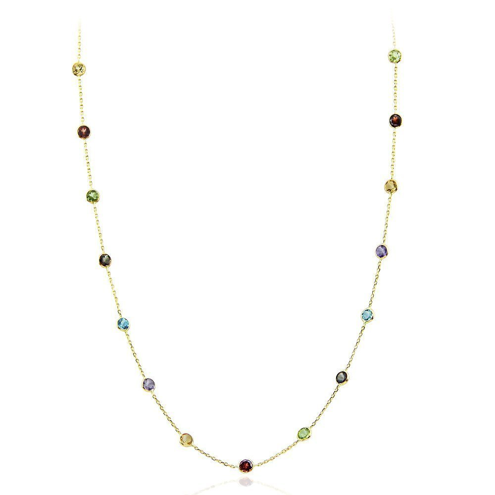 14K Yellow Gold Handmade Station Necklace With 4 MM Gemstones (16, 17, 18, and 20 Inches)