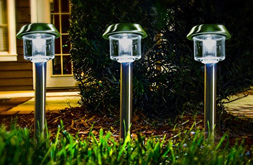 Stainless Steel Plant Stakes : Highgate solar accent led path lights stainless steel