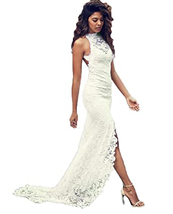 2f1616ef527ea5 QiJunGe Sexy Summer Beach Lace Wedding Dresses Backless High Slit Bride  Dress Ivory US 0