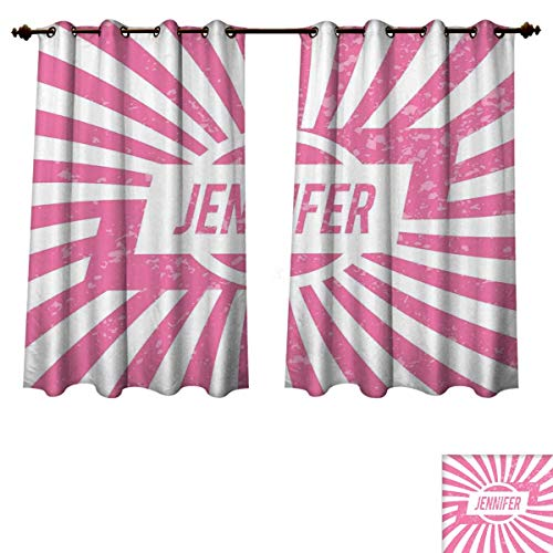 RuppertTextile Jennifer Blackout Curtains Panels for Bedroom One of The Most Popular Names for Newborn American Girls in Retro Design Decorative Curtains Pale Pink and White W72 x L84 inch - Jennifer Curtain Panel Set
