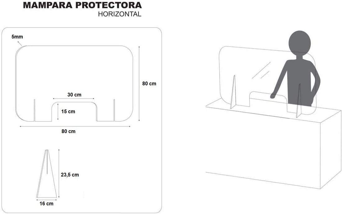 MAMPARA DE METACRILATO TRANSPARENTE EXTRAFUERTE 5mm 80x80cm