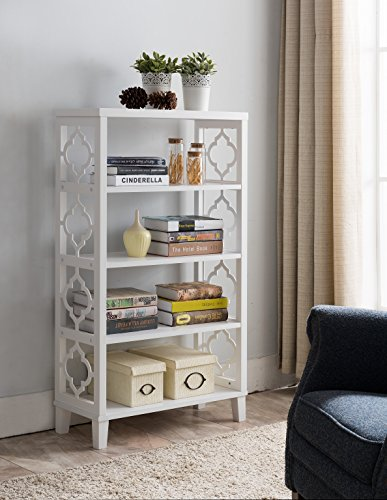 Kings Brand Furniture White Finish Wood Etagere 5 Tier Bookcase ()