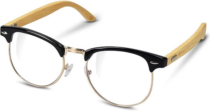 Navaris Retro Brille Ohne Sehstarke Damen Herren 50er Nerd Brille Anti Blaulicht Computer Brillen Nerdbrille Ohne Starke Mit Bambus Bugeln Amazon De Bekleidung