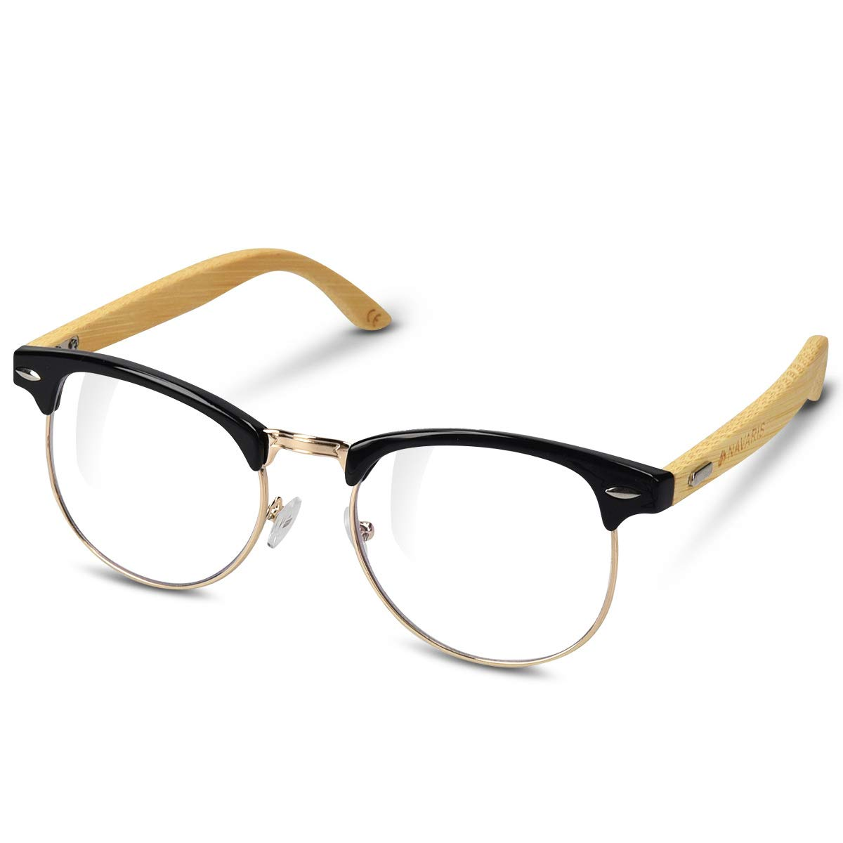 d7e8ef5acb Navaris Vintage Non Prescription Glasses - Vintage Optical Eyewear with  Clear Lenses for Men and Women - Unisex Glasses with Wooden Bamboo Frames   ...
