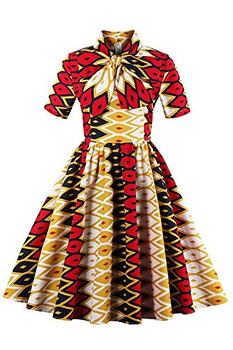 1950's Classical High Neck 1/2 Sleeve Colorful Printed Vintage Dress 3XL