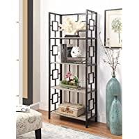 Weathered Grey Oak Finish Black Metal Wall 4-Tier Bookshelf Bookcase with Square Design