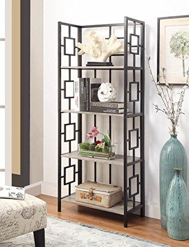 Weathered Grey Oak Finish Black Metal Wall 4-Tier Bookshelf Bookcase with Square Design (4 Shelf Black Metal Bookcase)