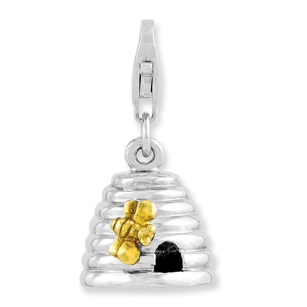 Rhodium-Plated /& Yellow-Finish Sterling Silver 3-D Beehive w//Lobster Clasp Charm