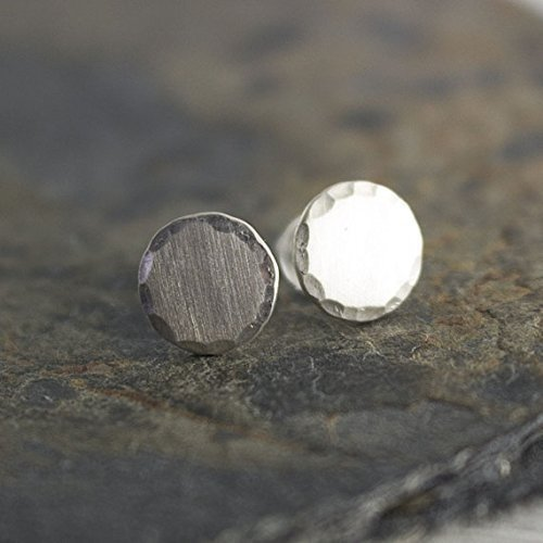 925 Sterling Silver Stud Matte Finish Earrings Men Women 7mm by Fashion Art Jewelry