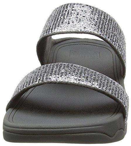 Fitflop Kvinder Lulu Superglitz Slide Sandaler Sølv EVWOluTw