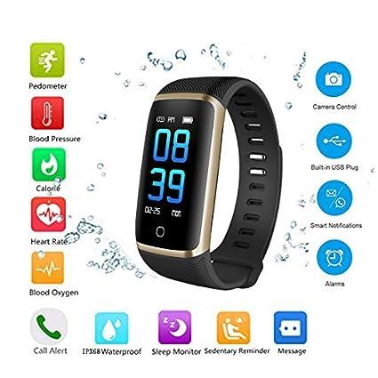 OOPPEN Pulsera de Actividad Inteligente Pantalla a Color Impermeable IP68 Pulsómetro con Monitor de Ritmo Cardíaco Monitor de Actividad Podómetro ...