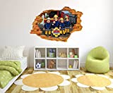 Fireman Sam Comic - 3D Smashed Wall Effect - Wall Decal For Home Nursery Decoratio (Wide 30''x20'' Height Inches)
