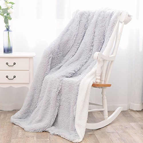 Twin Blankets for Bed Shaggy Faux Fur Long Plush Super Soft Cuddly Fluffy Sherpa Blanket for Winter(glistening silver,60
