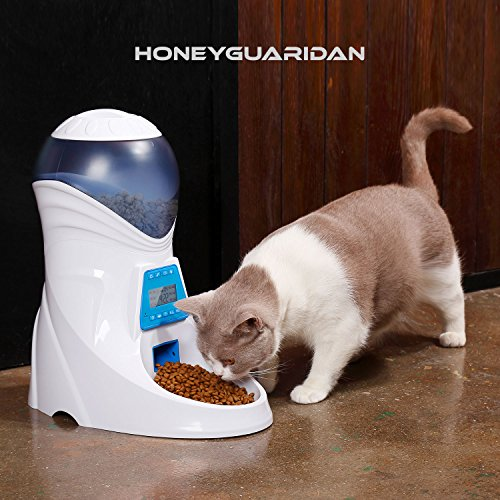 HoneyGuaridan A25 Automatic Pet Feeder Food Dispenser with Removable Food Container, Portion Control,Voice Recording and Timer Programmable, 6-Meal for Dogs (Medium and Small) and Cats & Small Animal by HoneyGuaridan (Image #9)