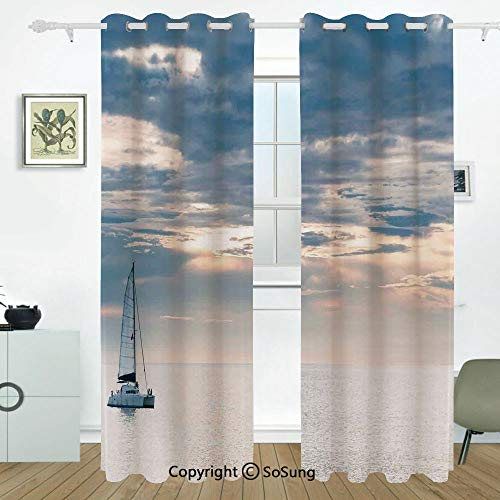 Sailboat Nautical Decor Grommet Blackout Window,Sailing Yacht in the Morning Time on Tranquil Sea Cloudy Sky Peaceful Marine Image,for Bedroom&Living Room&Patio Sliding Doors,2 Panels Set,108 X 84 Inc