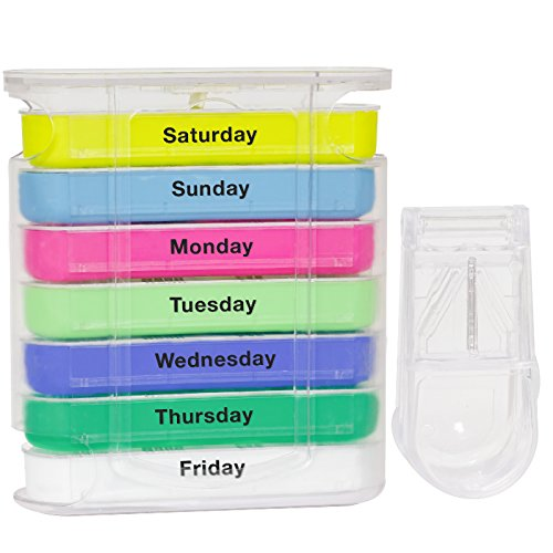 Pill Organizer Box - Weekly Case with Pill Splitter Cutter – Holder –Large Travel Medication Reminder Daily Am PM, Day Night Compartments 7 day–Medicine Dispenser Twice, 3, 4 Times a Day by Thassio