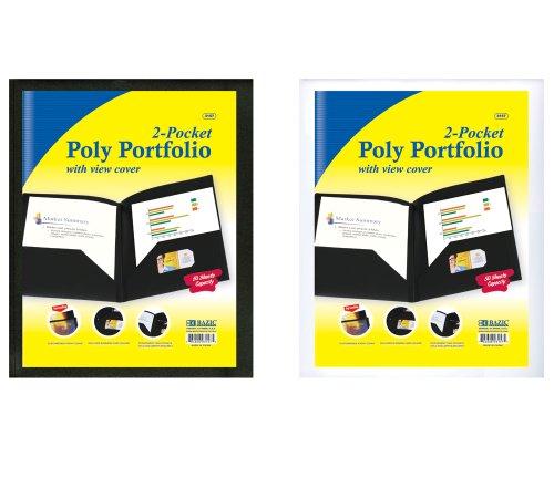 BAZIC 2-Pockets Poly Portfolio w/ View Cover (Case of 48)(3157-48) by Bazic