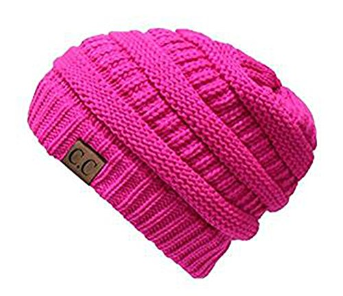 Shadana's Collection Trendy Warm Chunky knitted Oversized Soft Oversized Cable Knit Slouchy Beanie (Magenta) - Magenta Cable