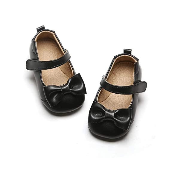 Girls Princess Leather Bowknot Soft Sole Mary Jane Shoes